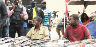 The kidnappers while being paraded by the police