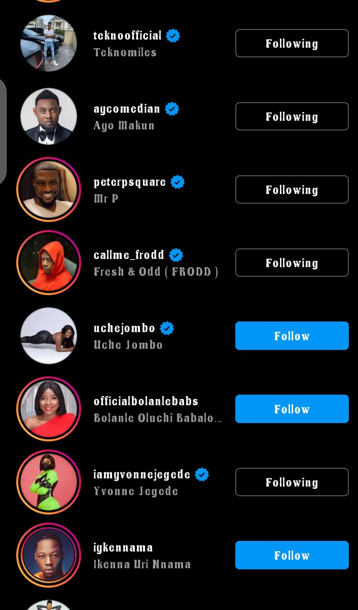 The reality TV star's following list