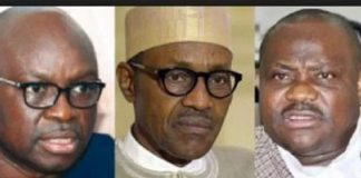 Collage photo of president Buhari, Fayose and Wike