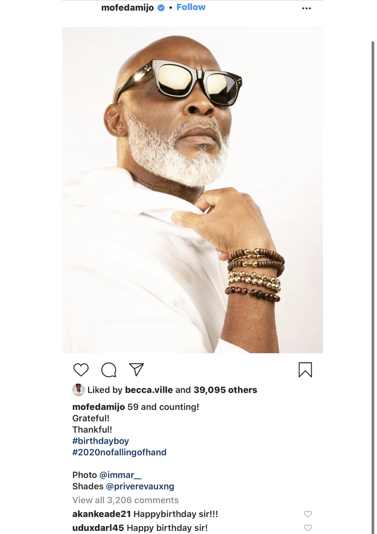 The actor's birthday post