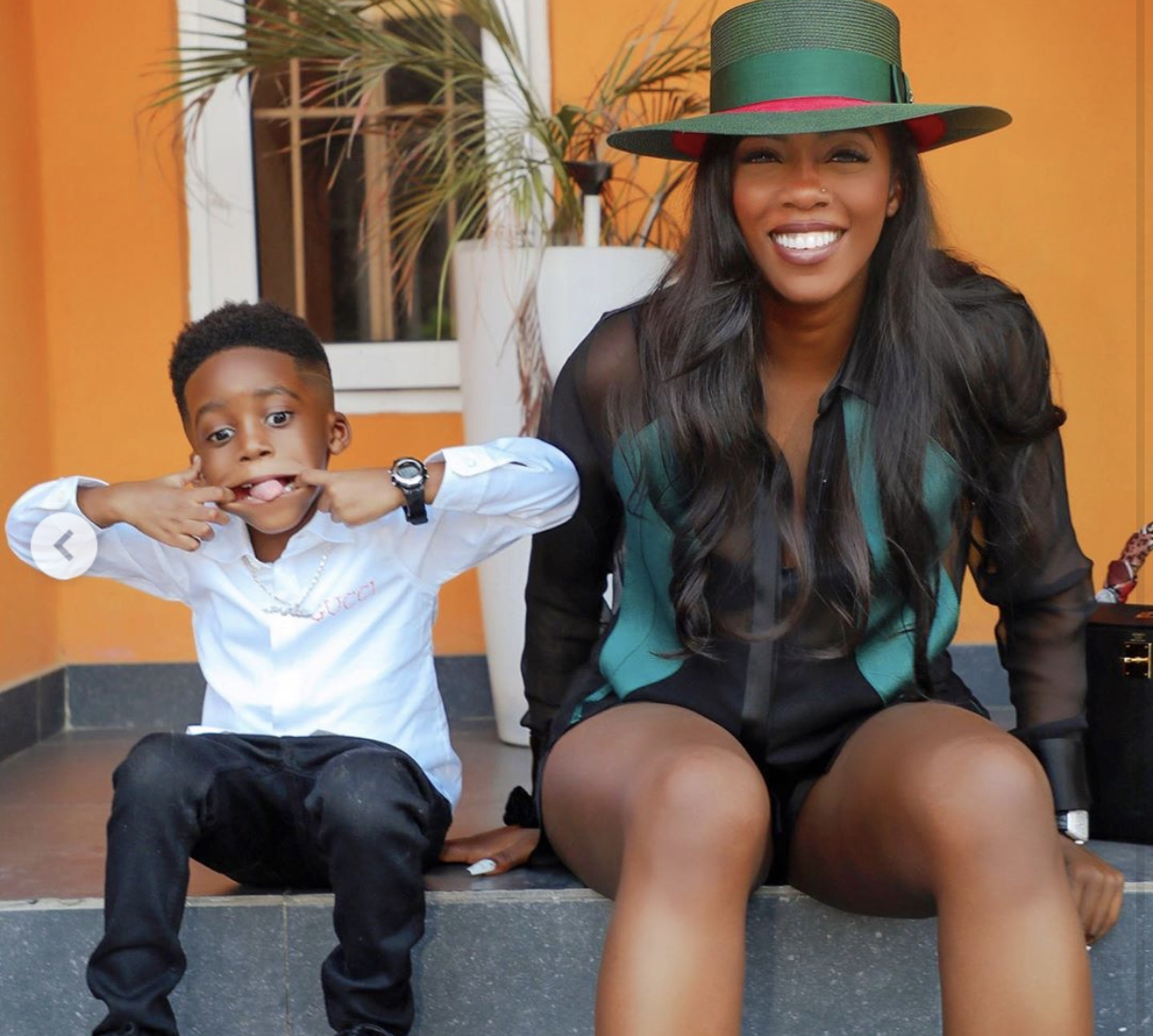 Photo of the singer and her son