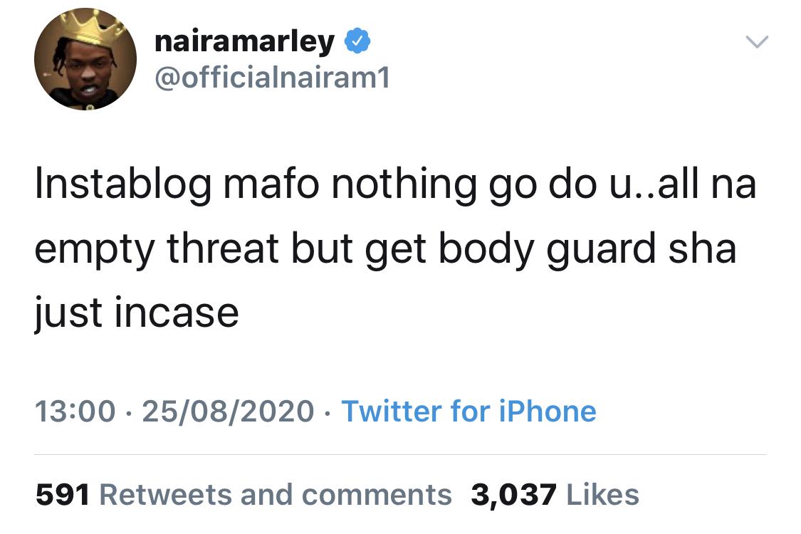 Naira Marley's tweet