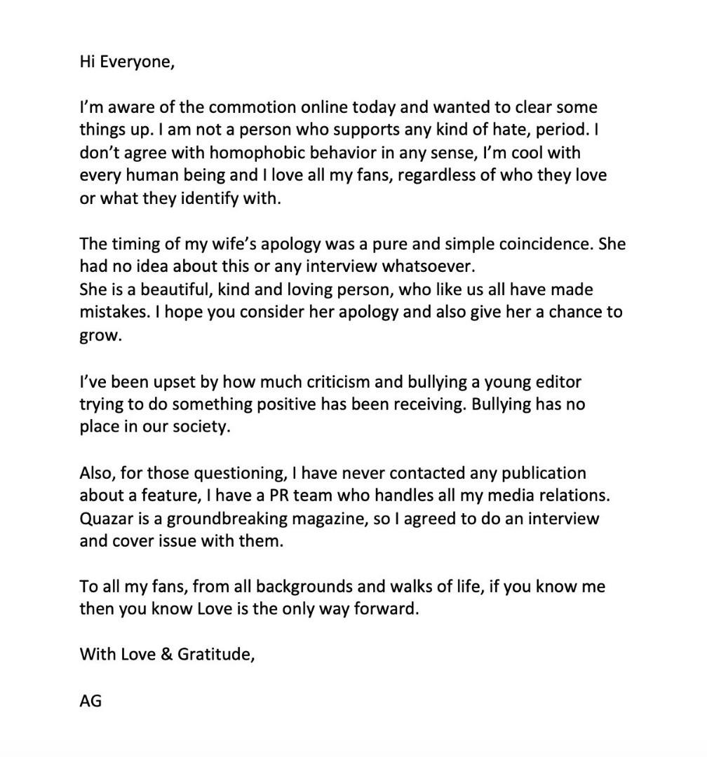 The singer's apology letter