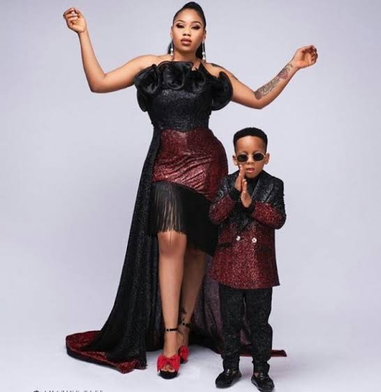 Toyin Lawani and her son