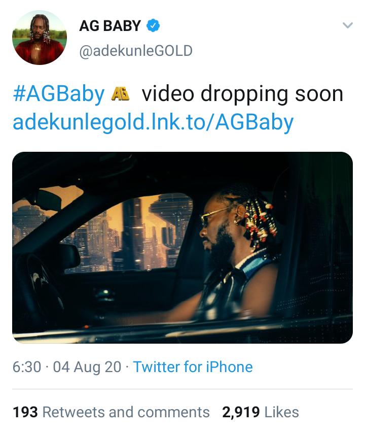 Adekunle Gold's Twitter Post