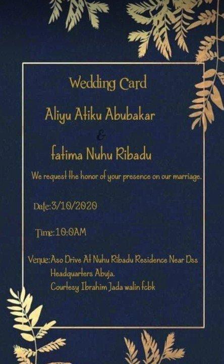 The couple's wedding card