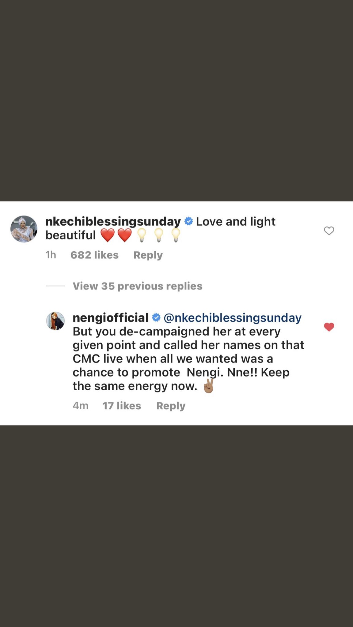 The exchange between the reality star's management and Nkechi Blessing