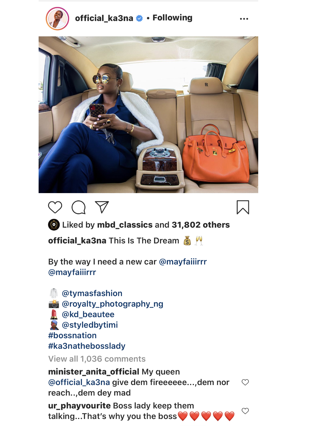 The reality TV star's post