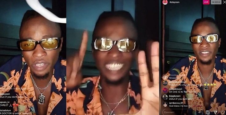 Laycon performs for fans as he gets over 40k views in 10 minutes on his first Instagram Live (Video)