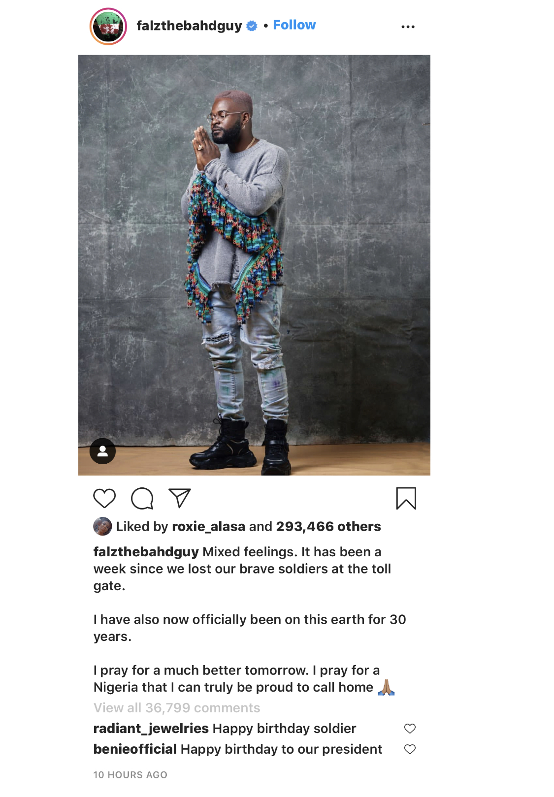 The rapper's post