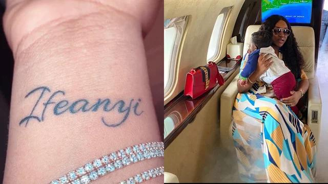 Davido's Fiancee, Chioma Rowland Tattoos Son's Name, Ifeanyi On Her Wrist