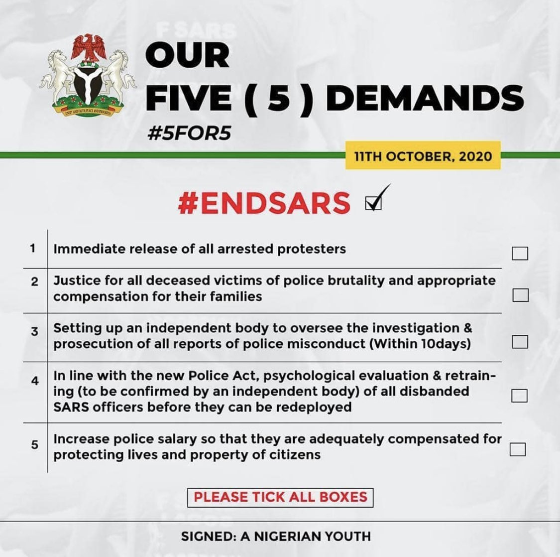 Five Demands Of #EndSARS Protesters