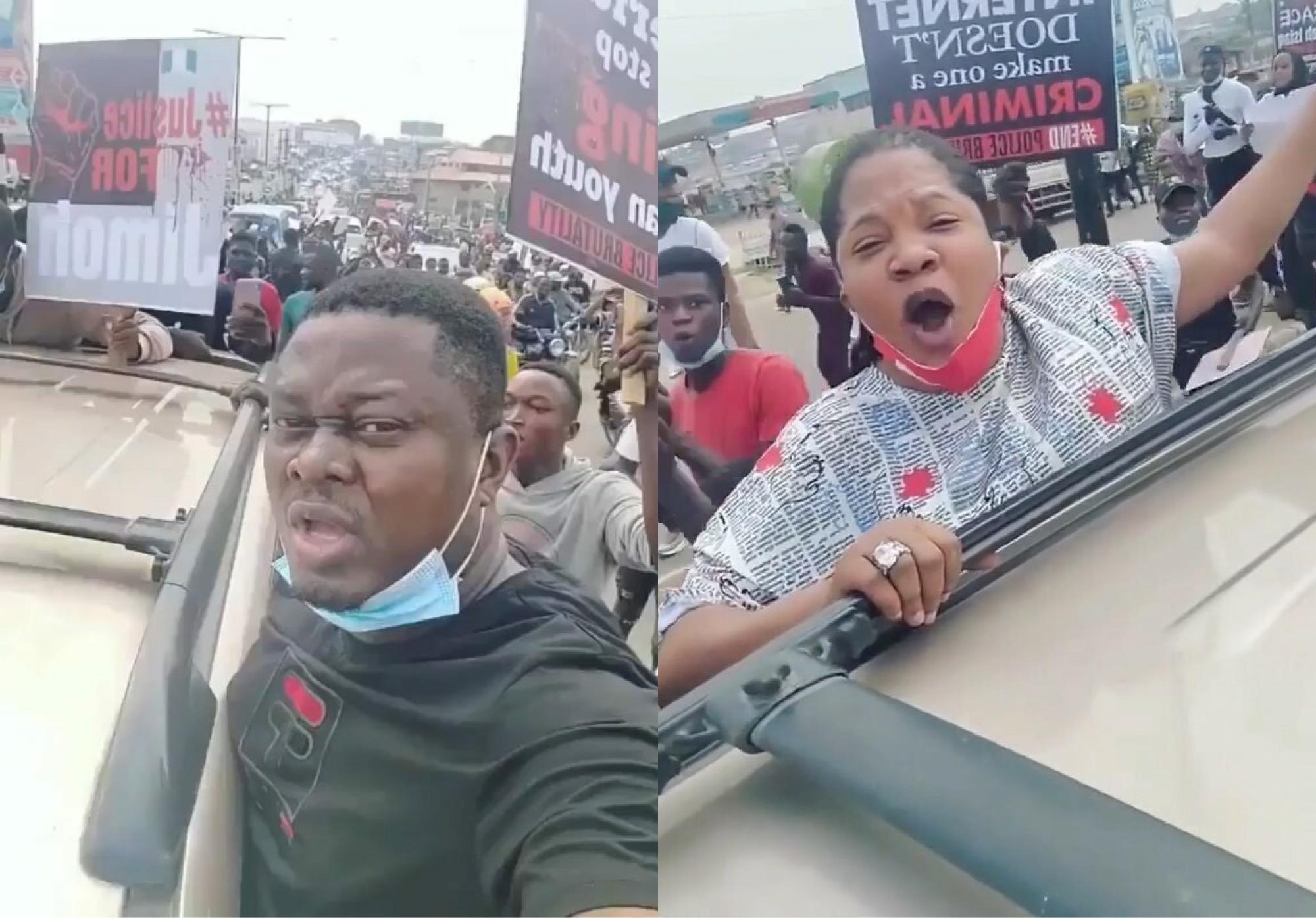 #EndSARS: Toyin Abraham, Muyiwa Ademola Join Protest In Ibadan