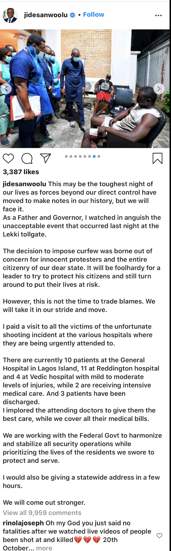 The governor's statement