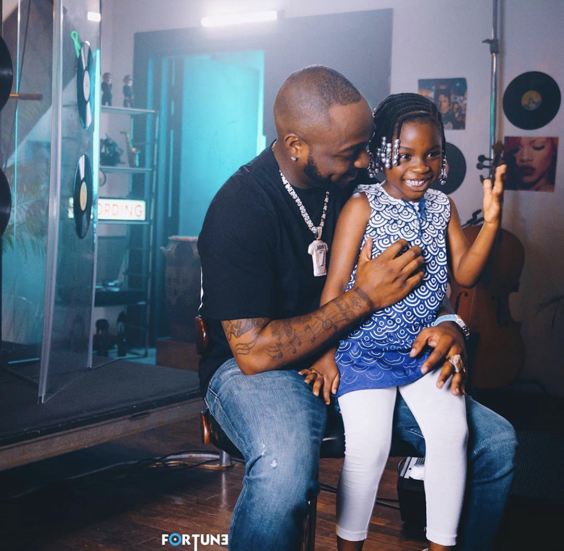 Singer Davido Spotted Spending Time With His Daughter, Imade In A Studio (Photos)