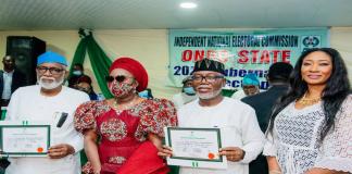 Ondo Guber: INEC Presents Certificate Of Return To Akeredolu, Deputy