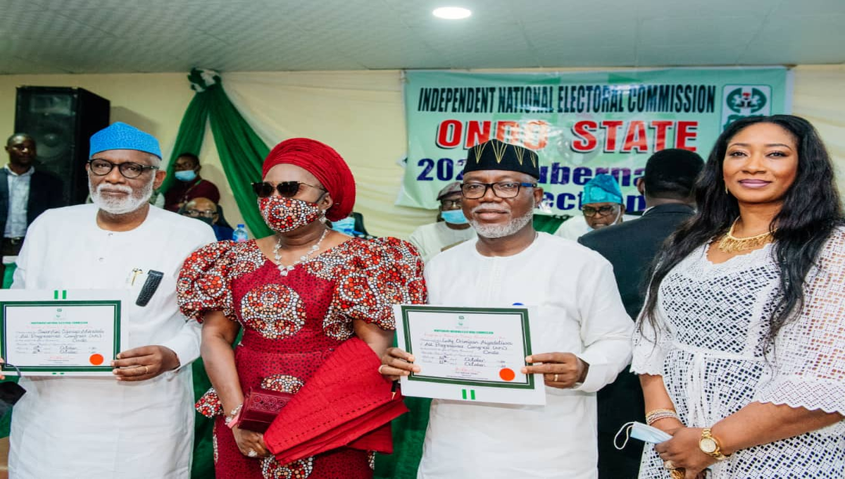 Ondo Guber: INEC Presents Certificate Of Return To Akeredolu, Deputy