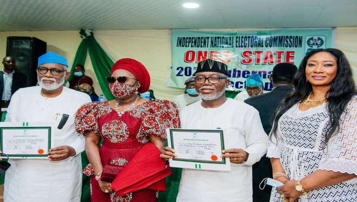 Ondo: INEC Presents Certificate Of Return To Akeredolu, Deputy
