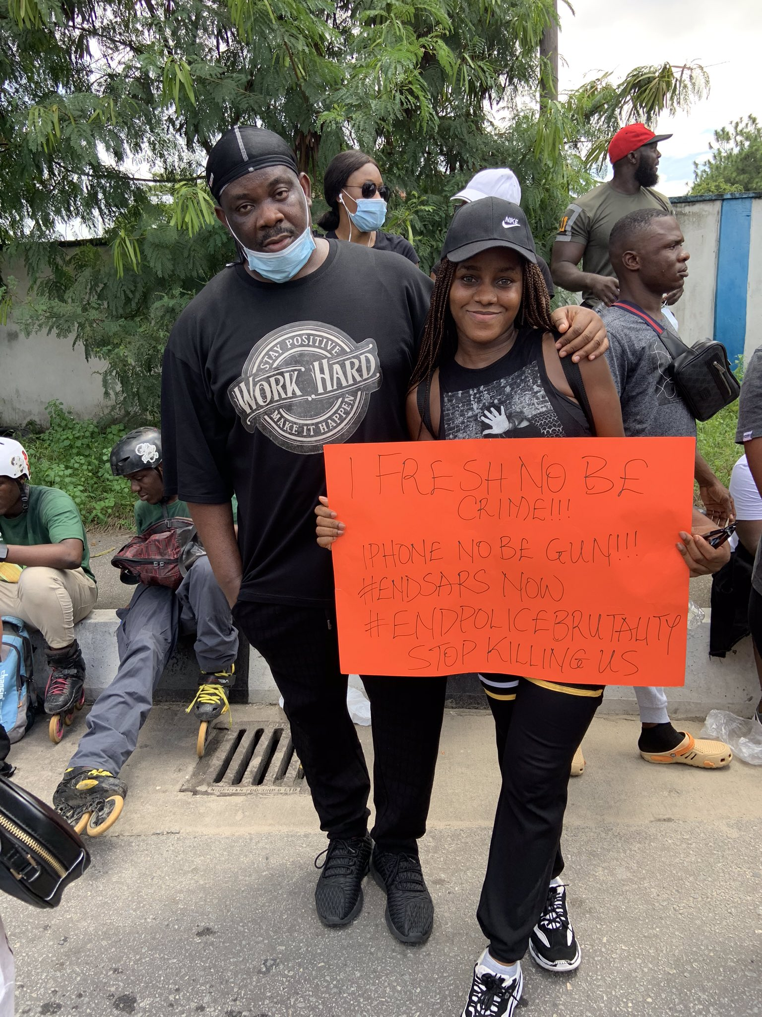 Don Jazzy and a protester