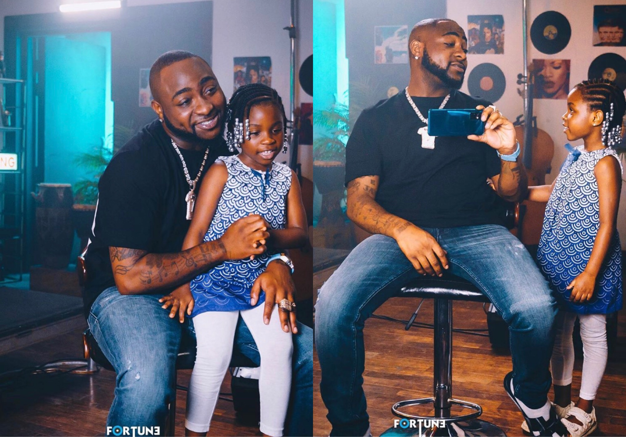 Davido Spotted Spending Time With His Daughter, Imade In A Studio (Photos)