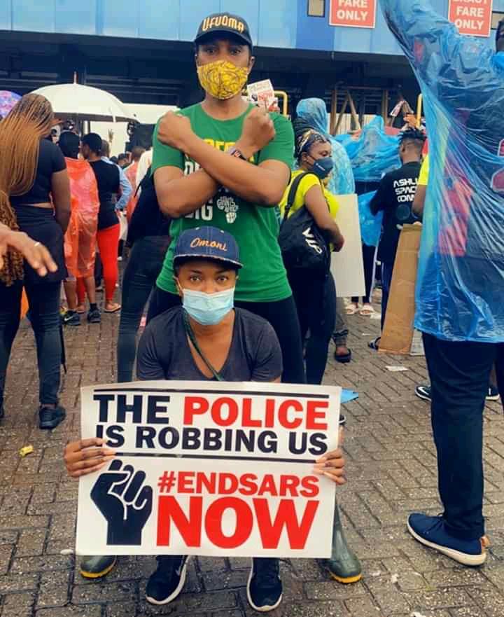 Omoni Oboli and Ufuoma Mcdermott on protest ground