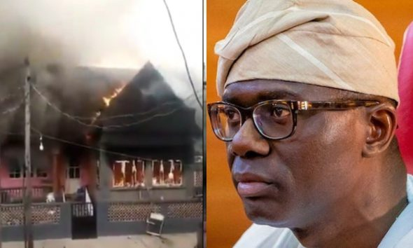 Youths Burn Down Gov Sanwo-Olu's Mother's House In Lagos (VIDEO)