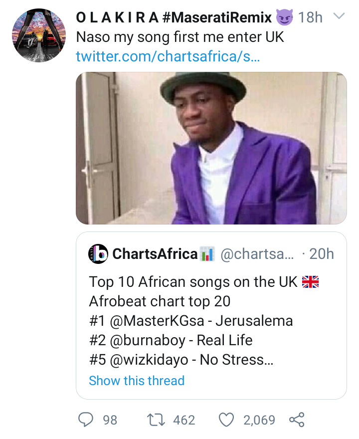 Olakira Reacts As His Song 'Maserati' Enters UK Top 20 Afrobeat Chart