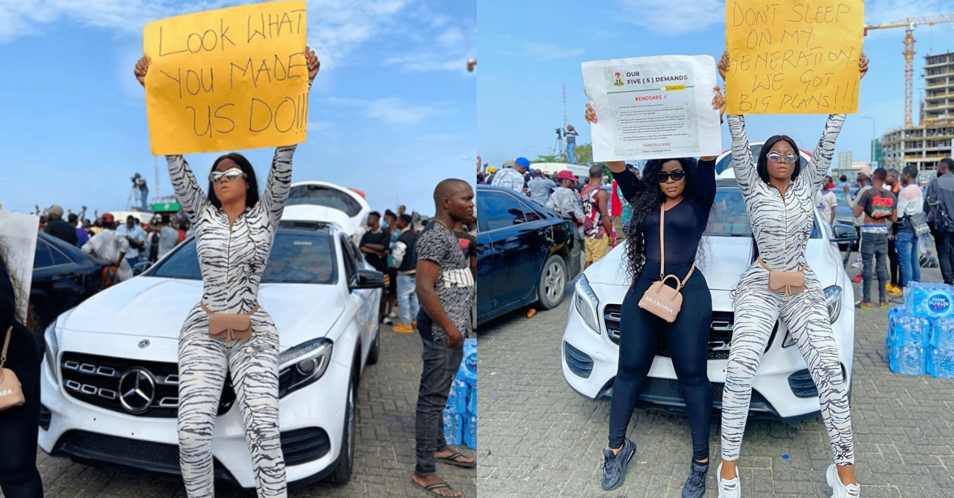 """Do you think it's easy to stay under the sun?"" – Lilian Afegbai blasts people calling out Lekki protesters over food and being flashy"