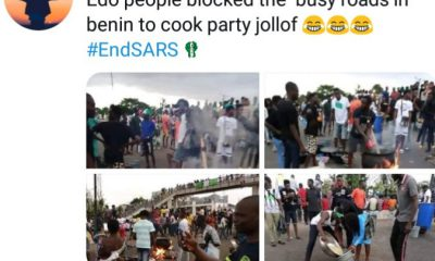 #EndSARS protesters in Edo block highway to cook Sunday lunch