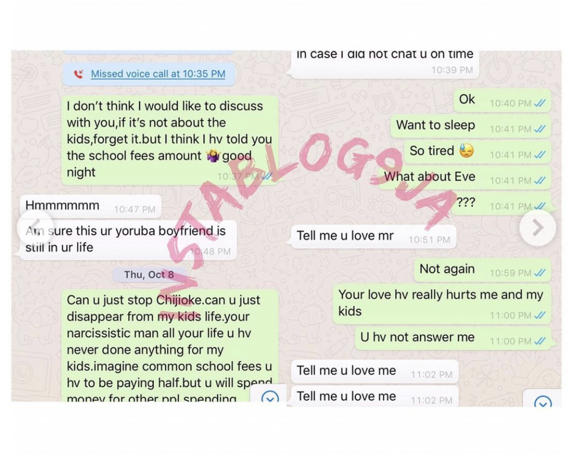 Screenshots of the chat between movie producer and his ex-wife