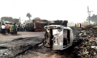 JUST IN: Fuel Tanker On Fire On Lagos-Ibadan Expressway