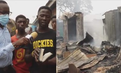 Bible found unscathed as fire razes shops at popular market in Ghana (Video)