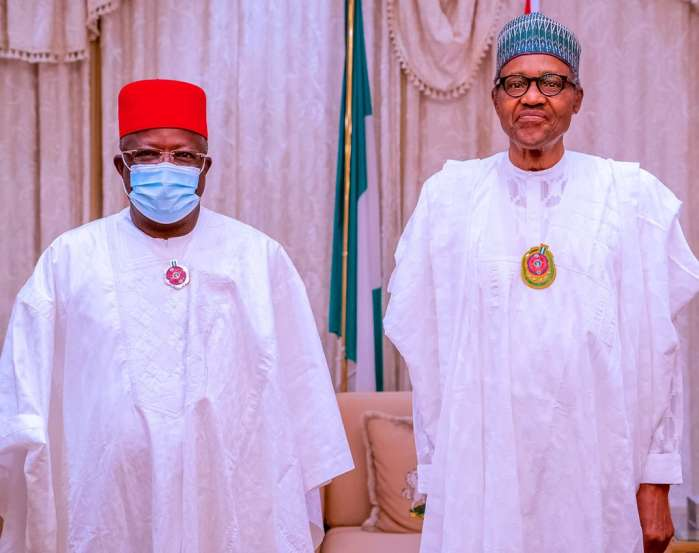 5. President Muhammadu Buhari Thursday night received Ebonyi State Governor, David Umahi, shortly after he defected from the Peoples Democratic Party (PDP) to the ruling All Progresives Congress (APC).