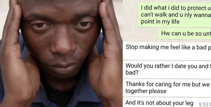 Lady breaks up with lover after he lost his leg while trying to protect her from robbers