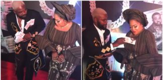 Rapper Falz Asks Toyin Abraham For Her Account Number After Spraying Fake Money On Her At An Event