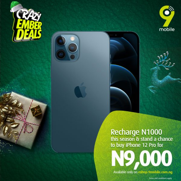 Get up to 99% off your dream devices, electronics this Christmas with 9mobile Crazy Ember Deals