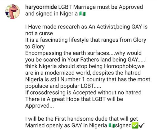 The gay activist's post