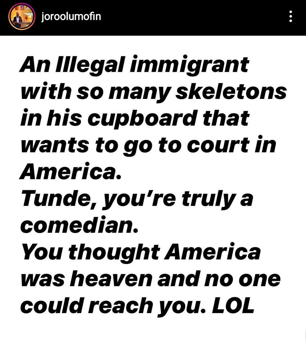 Screenshot of his post