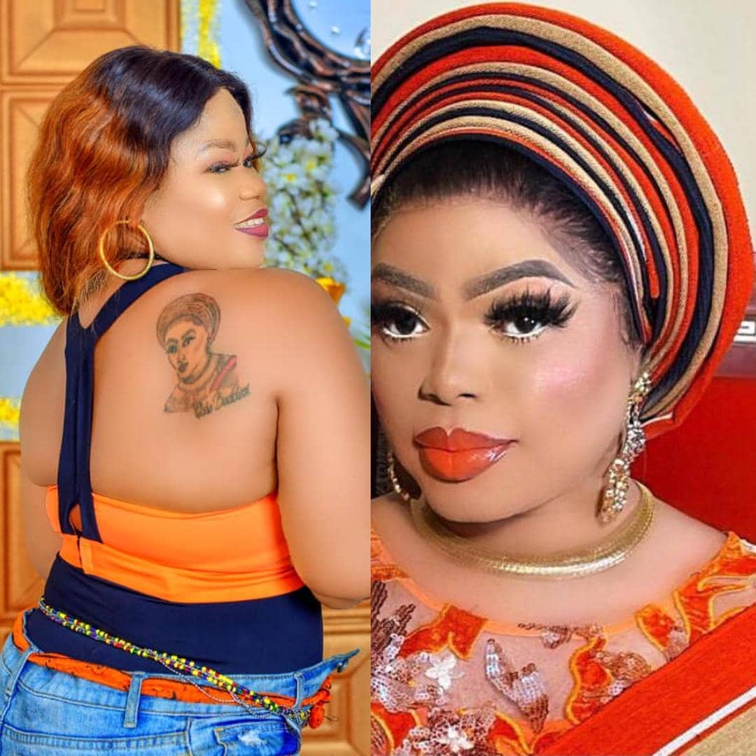 Bobrisky Reacts As Fan Tattoos His Face On Her Back