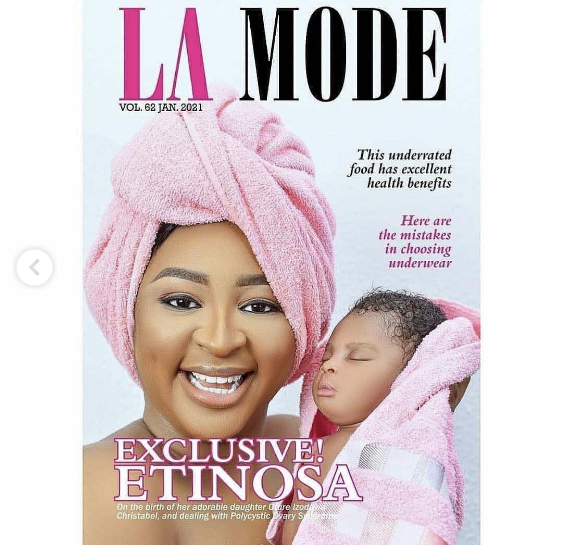 Etinosa Idemudia and her daughter
