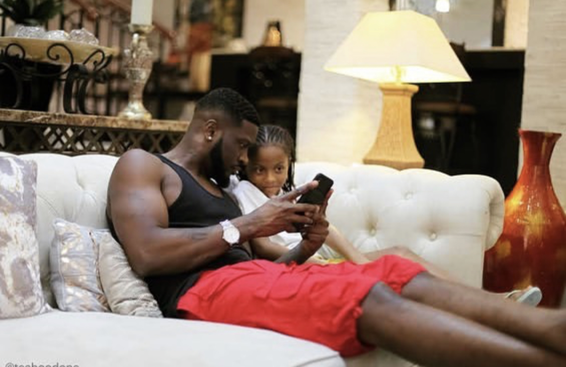 Peter Okoye and his daughter