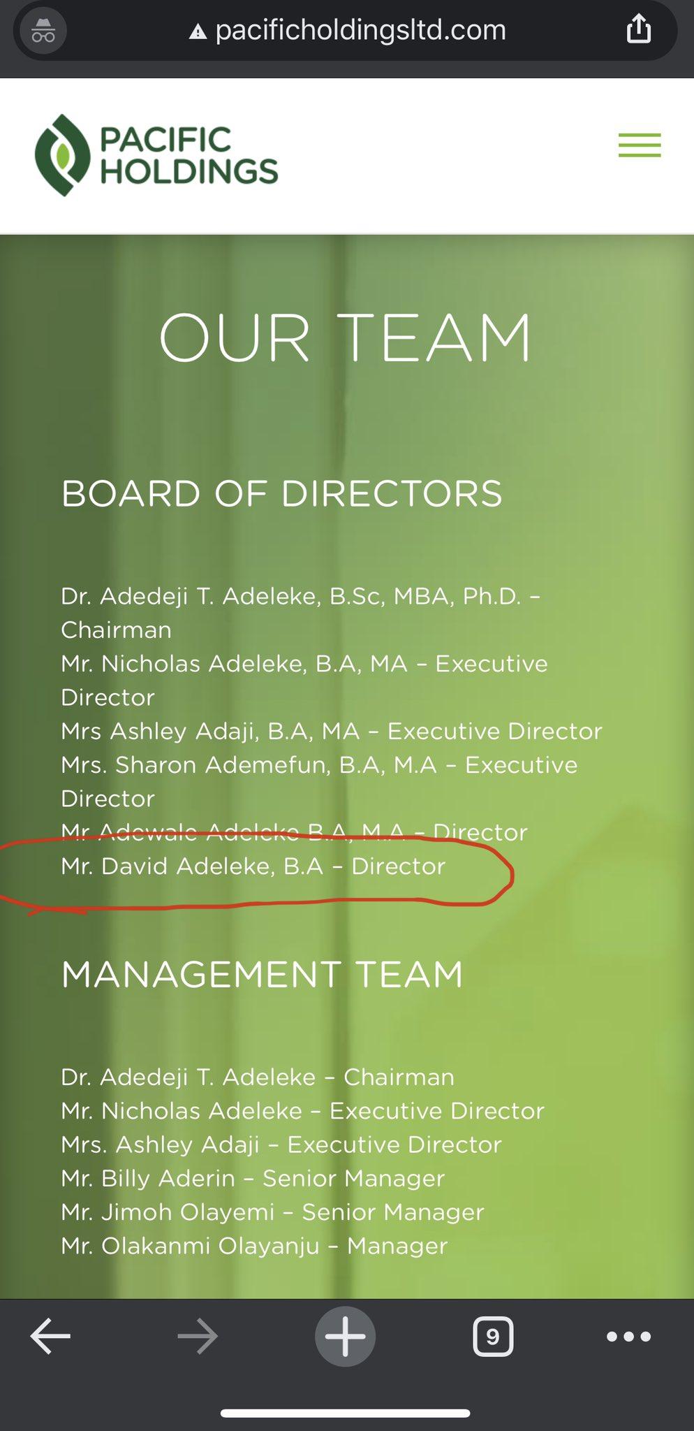 Screenshot of the company's website