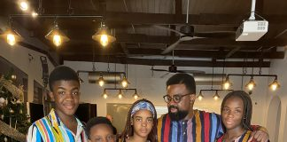 Kunle Afolayan And His Children Stun In Matching Outfits (Photos)