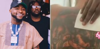 Die-Hard Fan Inks Davido And His Children's Faces On Her Back (Video)