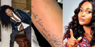 Blessing Okoro Inks Denrele Edun's Name And Quote On Her Body