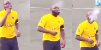 Singer Davido Spotted Smoking On Football Pitch