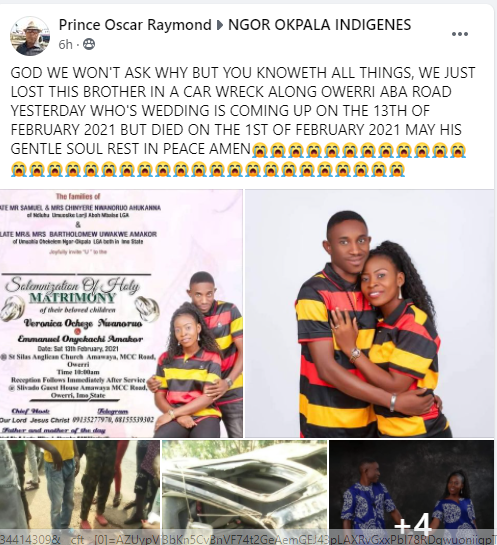 Nigerian man dies in a fatal car accident 12 days to his wedding - Information Nigeria