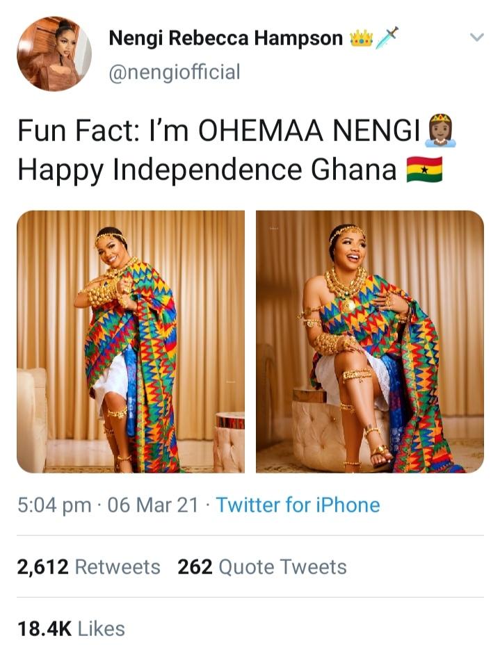 Ex Bbnaija Housemate Nengi Celebrates Ghana's Independence Day [Photos]