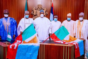 BREAKING: Buhari meets Matawalle, Ayade in Aso Villa