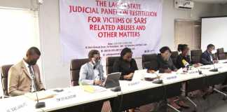 A file photo of Justice Doris Okuwobi and other members of the Lagos Judicial Panel.